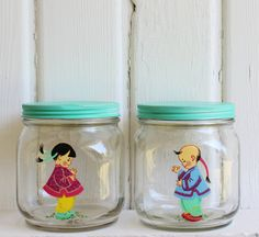 Set of Matching Vintage Hazel Atlas Glass Jars w/ by BygoneCharm