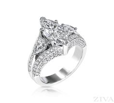 Large Marquise Diamond Ring with Pear Sides