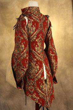 Red and Gold Corseted Pirate Coat Waist, Custom. Steampunk Costume, Steampunk Fashion, Larp, Ballet Russe, Vintage Outfits, Sexy Corset, Overbust Corset, Look Fashion, Fashion Design