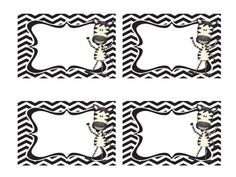Jungle or Zebra Themed Blank Labels (Cubby Tags, Name Tags etc).