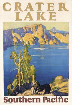 ORIG 1920s SP Rail Travel Poster CRATER LAKE Logan Art