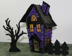 freestanding lace haunted house embroidery design from