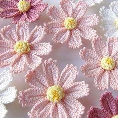 Bom dia flores do dia! Como está o frio? Aqui em São Paulo está congelando a ponta do nariz 😬 Desejo um dia aquecido com o amor de Deus😘. Art Au Crochet, Mode Crochet, Crochet Daisy, Crochet Motifs, Crochet Flower Patterns, Crochet Diagram, Irish Crochet, Crochet Shawl, Crochet Designs