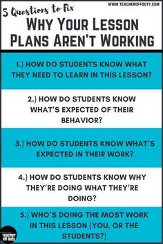 Your Lesson Plans May Not Be Working Top reasons lesson plans flop and 5 questions that can help you prevent them from happening.Top reasons lesson plans flop and 5 questions that can help you prevent them from happening. Instructional Coaching, Instructional Strategies, Teaching Strategies, Teaching Tips, Teaching Art, Instructional Planning, First Year Teachers, New Teachers, Teachers Toolbox