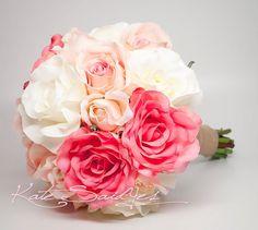 Silk Wedding Bouquet - White Pink and Peach Burlap Rose Silk Wedding Bouquet - Rustic Bridal Bouquet