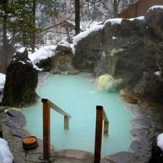 Hot springs and snow, Japan.