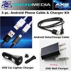 Phone Charger Adapter Kit w/ Data Charge Cable Samsung LG ZTE Nokia Android Moto #MicroMediaAXS