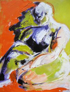 Gasp! - Abstract Nude Figure Orange and Purple Figure Palette Knife Oil Painting 16 x 20 Corinne Galla
