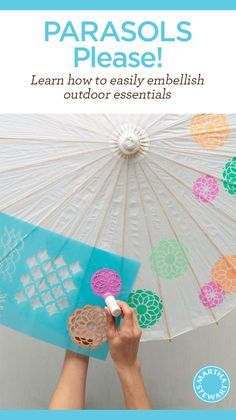 DIY Painted Stenciled Parasols by Martha Stewart for a Summer Garden Party