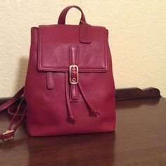 """Vintage COACH LEGACY Red Leather BackPack Vintage """"COACH Legacy Red"""" Soft Supple Leather Medium Backpack  Bag Length: 10"""" Bag Height: 11""""  Bag Depth:   5''   Magnetic Snap Closure accompanied by the Draw String Brown sateen signature """"coach"""" lining with zippered pocket  Mint Condition   Only used One Time Number/style No:F23-9858 Coach Bags Backpacks"""