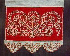 Käspaikka from Karelia, Finland Folk Embroidery, Floral Embroidery, Cross Stitch Embroidery, Embroidery Patterns, Russian Folk, Embroidery Techniques, Needle And Thread, Textile Art, Blackwork