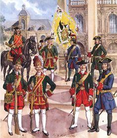 Guardias rusas del siglo XVIII.