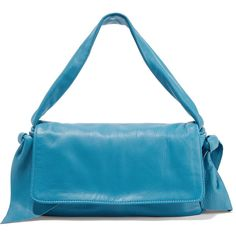 REDValentino Leather shoulder bag ($475) ❤ liked on Polyvore featuring bags, handbags, shoulder bags, blue leather handbags, blue shoulder bag, blue handbags, blue leather purse and genuine leather shoulder bag