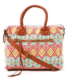 Another great find on #zulily! Pink & Cognac Tribal Braid Handle Tote by T-Shirt & Jeans #zulilyfinds
