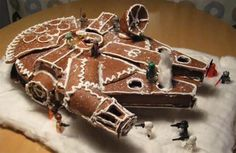Happy Holidays nerds! This epic gingerbread Millenium Falcon is for you.