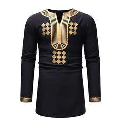 Classic V Neck Longline T Shirt Men 2018 Fashion African Dashiki Print T-shirt Men Hip Hop Streetwear Tops Tees African Clothes African Shirts For Men, African Clothes, African Men, African Style, African Dashiki Shirt, Fashion Office, Clothes 2018, Men Clothes, Shirt Print Design