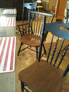 Reclaimed Vintage Black Paint Early American Set 4 Dining Kitchen Chair Chairs Sale CALL For A SHIP Quote 4995 Via Etsy
