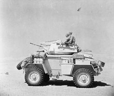 BRITISH ARMY NORTH AFRICA 1942 (E 15488)   A Humber Mk II armoured car of the 12th Royal Lancers on patrol in the Western Desert, 10 August 1942.