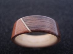 Wood ring  Macore and american walnut bentwood by BastionAtelier