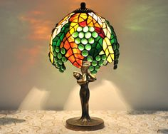 Tiffany table lamp 6.5 shade hand made of by AmberGlassArt
