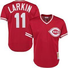 df9056d2320a5 Barry Larkin Cincinnati Reds Mitchell   Ness Throwback Cooperstown Mesh  Batting Practice Jersey - Red Cincinnati