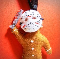 edward - His name was Jason - gingerbread men - custom christmas ornament, felt miniature doll, weird creepy cute, horror movie killer, OOAK gift. $15.00, via Etsy.