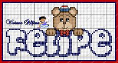 Viviane Alfêna - Gráficos e Bordados Cross Stitch, Teddy Bear, Kids Rugs, Animals, Anchor, Cross Stitch For Baby, Crafts For Boys, Diy And Crafts, Bear Graphic