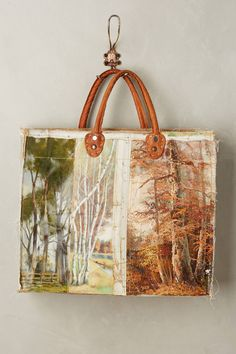 Leslie Oschmann one-of-a-kind Lakeview tote bag for Anthropologie Painted Canvas Bags, Fox Bag, Diy Tote Bag, Clutch Bags, Fabric Bags, Fabric Scraps, My Boutique, Lake View, Leather Purses