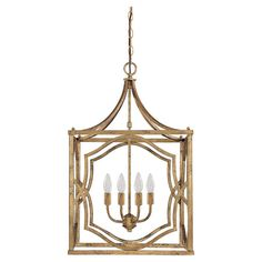Pairing contemporary design with classic elegance, this bold pendant showcases an enclosed chandelier with faceted drops and an antique gold finish.