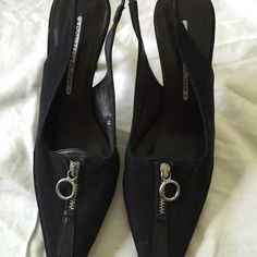 """Donald J Pliner Black Slingback Pumps Dressy black slingback pumps with decorative silver zipper on the top of the shoe. Gently worn, excellent condition. Heel height 3.25"""". Donald J. Pliner Shoes Heels"""
