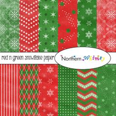 Red and Green Digital Paper Pack – #Distressed #Christmas #Scrapbook Paper with…