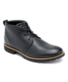 Look what I found on #zulily! Black Charson Leather Boot - Men by Rockport #zulilyfinds