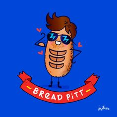 Justine Morrison is a talented artist who illustrated famous celebrities as cute puns and the result are hilarious. If you are having a bad day, then these photos will surely boost your mood instantly. From Brad Pitt to Bread Pitt and from Kardashians to Cute Puns, Funny Puns, Funny Facts, Funny Stuff, Puns Jokes, Memes Humor, Food Jokes, Food Humor, Tom Cruise