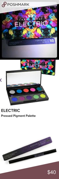 New Urban Decay Electric Eyeshadow and Liner Combo Brand New Urban Decay Electric Eyeshadow Palette and Urban Decay Double-Side Eyeliner Pencil in colors LSD (green)&Perversion (Black). All reasonable offers are considered and appreciated. Urban Decay Makeup Eyeshadow