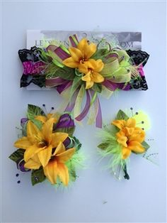 Golden yellow prom corsage and matching prom garter.  letsdancegarters.com