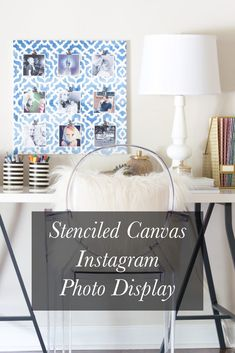 LOVING this idea! Make a stenciled canvas Instagram photo display, and swap out your photos anytime you want!