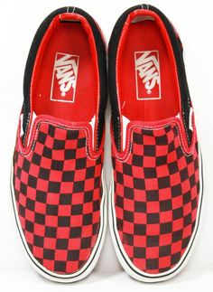 Unisex Vans Off The Wall Red Black Checkered Slip On Shoes Mens 6.5 - Womens 8 #VansOffTheWall #FashionSneaker