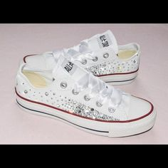 Blinged out convers custom made I make any size any color Converse Shoes