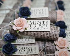 "Navy wedding favors with personalized tag, set of 24 mint rolls, ""Mint to be""…"