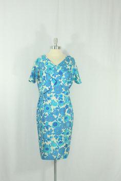 XL Vintage Dress  1950's Aqua Blue Silk Cross by SIZEisJUSTaNUMBER, $89.00