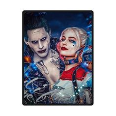Harley Quinn And Joker Suicid Squad Custom Super Soft Fleece Blankets Throws Custom Blanket 58 Inches X 80 Inches Large