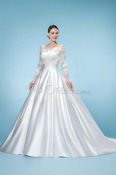 Junoesque Off-the-Shoulder 3/4 Length Sleeve Floor-Length Wedding Dress : Tbdress.com