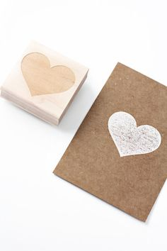 Heart stamp on parchment from Besotted Brand on Etsy. #color