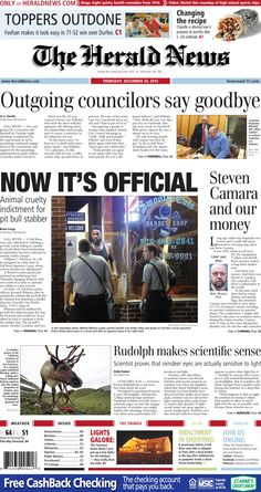 The front page of The Herald News for Thursday, Dec. 24, 2015.