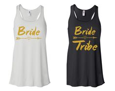 "BACHELORETTE Party Tank Top ""BRIDE"" & ""Bride Tribe"" tank top White and Black by TheShirtDealer on Etsy"