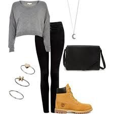 Image result for outfits with timberland boots polyvore