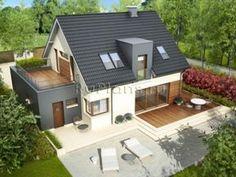 Проект одноэтажного дома с мансардой и гаражом R3635