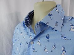 Mens TailorByrd Size L Large LS Blue Dress Shirt Pin Up Girl Swimsuit Fun Print  #TAILORBYRD #ButtonFront