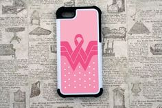 Breast Cancer Wonder Woman Inspired 2 Piece Rubber by CaseEnvy, $20.00