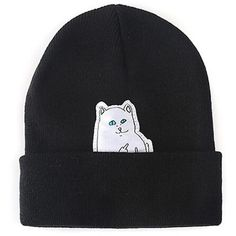 Chicnova Fashion Cat Patch Beanie Hat (8.10 SGD) ❤ liked on Polyvore featuring accessories, hats, beanie cap, patch hat, cat beanie, beanie hats and cat beanie hat